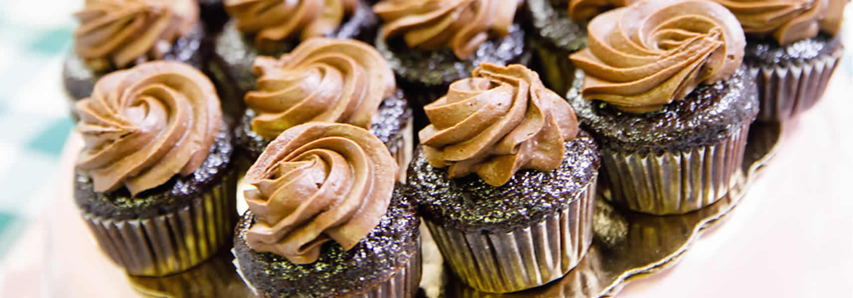 Close-Up of Mini Chocolate Cupcakes