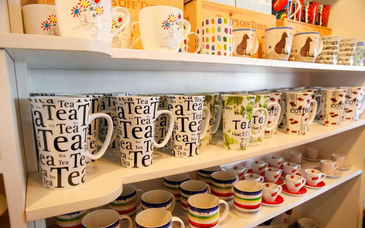 Shelves of Coffee and Tea Mugs