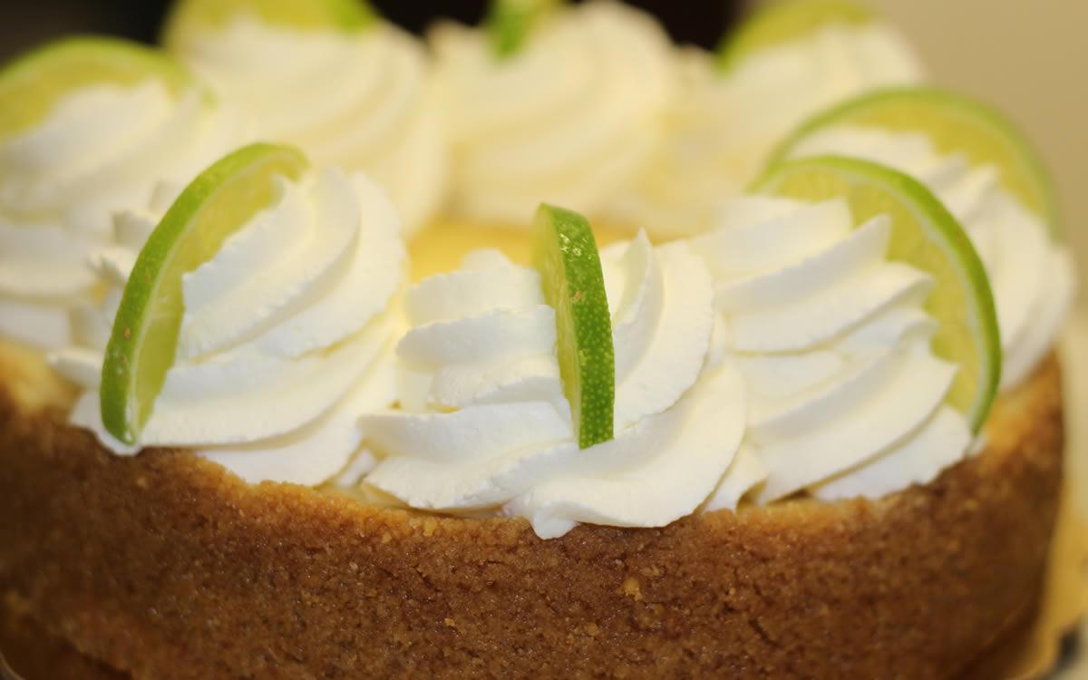 Close-Up Shot of Large Key Lime Tart