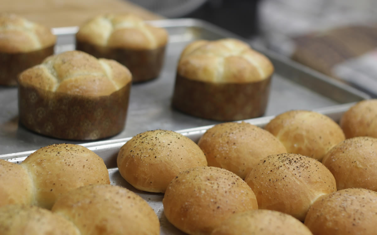 Trays of Parker House Rolls in the Bakery