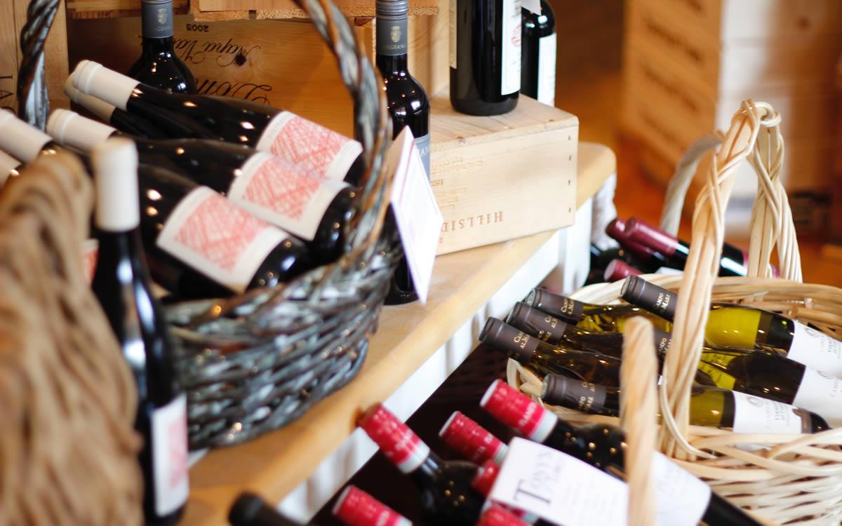 Baskets Displaying Wine Bottles
