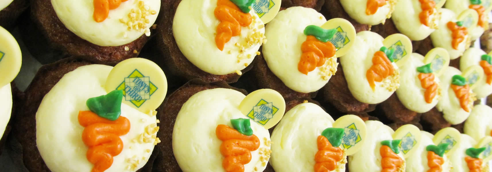 Rows of Carrot Cake Cupcakes