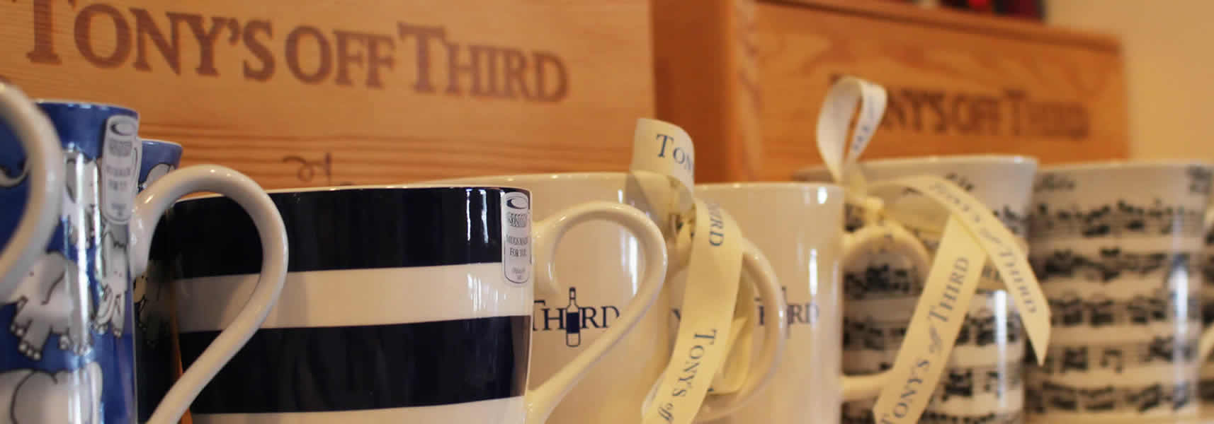 Coffee Mugs and Wooden Wine Boxes