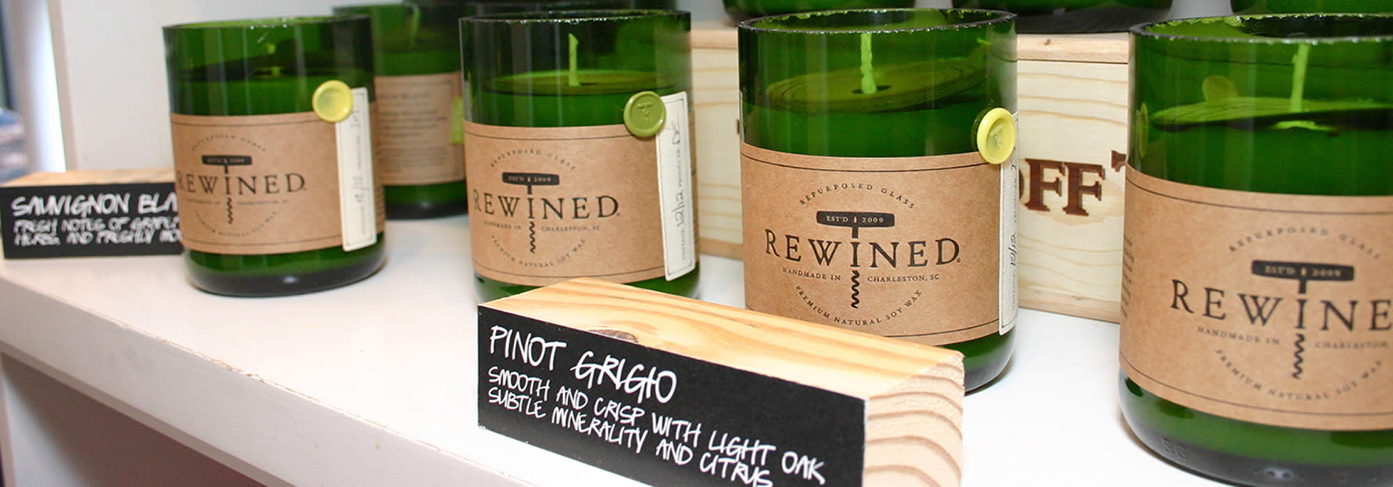 Wine Candles in Tony's Off Third Retail Store